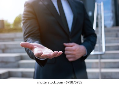 business man with empty hand