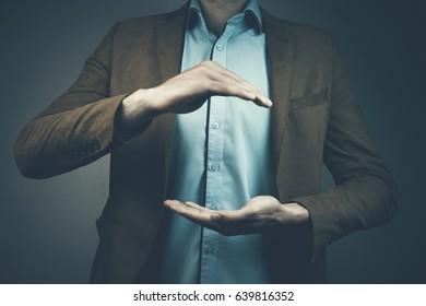 Business man empty hands