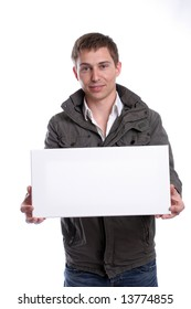 business man with an empty white card, isolated in white background