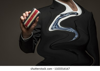 Business man with eraser and warped, wavy body