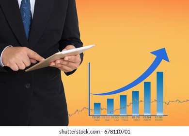 Business man with Financial stock market in accounting market economy analysis. Business Digital stock exchange currency trade cost background.