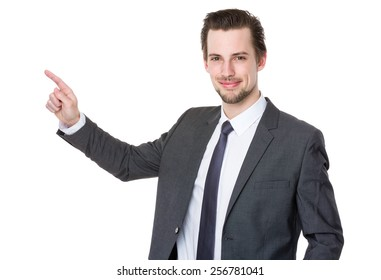 Business man with finger point up
