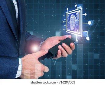 Business man Fingerprint scan provides security access with bio metrics identification, person touching screen with finger in background