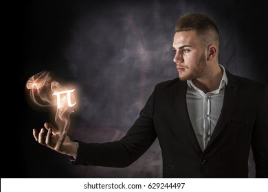 Business Man With Fire  Pi Sign From His Hand