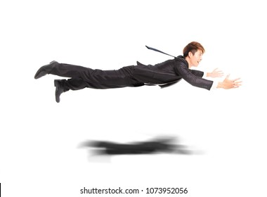 business man flying and isolated on white