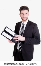 A business man with folders