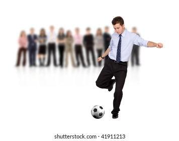 business man with a football and a group isolated over a white background