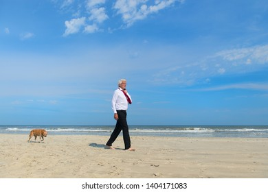 Business man in formal suit walking his dog at the beach