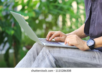 Business man of freelancer working using laptop computer in home office, Communication technology and Business concept