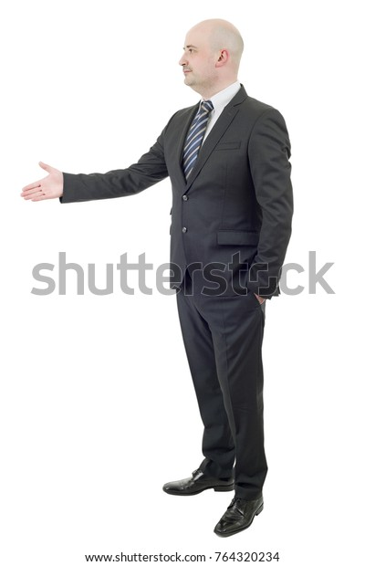 business man full lenght offering a handshake, isolated