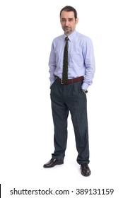 Business man is in full  length over a white background.