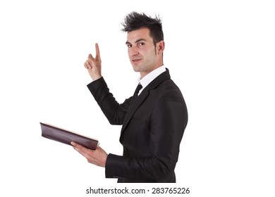 business man gesturing with book