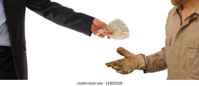 Business man gives money to a worker in gloves