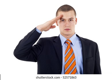 Business man gives salute isolated on white background