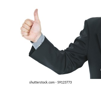 Business man giving thumbs up hand gesture