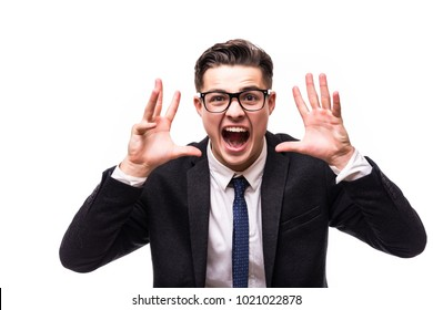 business man with glasses screams on isolated background