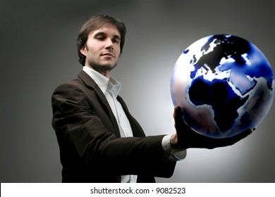 a business man with the globe