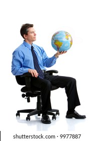 business man  with globe. Isolated over white background