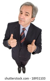 business man going thumbs up, isolated on white