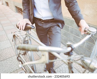 business man going to work on his bicycle. concept about healthy lifestyle