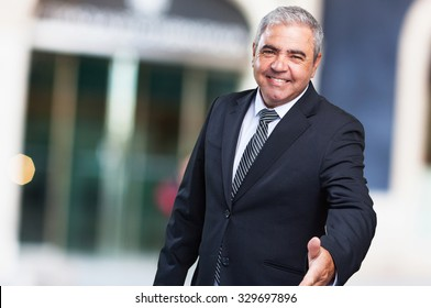 business man greeting gesture