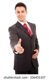business man greeting with hand shake isolated on white