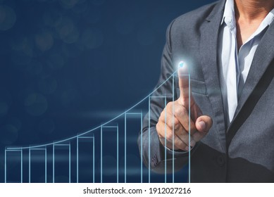 business man with growth finance statistic chart diagram graph for marketing and financial concept.