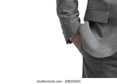Business man Hand casually in his pocket on white background