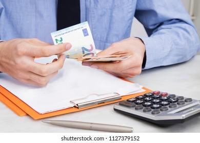business man hand counting money, accounting and finance