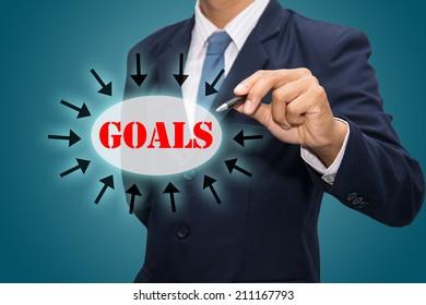 Business man hand drawing Goals concept