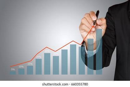 Business man hand drawing a growing graph, representing business growth