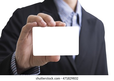 business man hand holding blank business card showing for identity concept