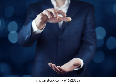 business man hand holding on bokeh background