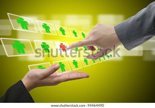 Business Man Hand on Virtual Touch Screen Interface using for Electronic Recruitment Process and Workforce Human Resource concept
