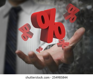 Business man hand showing  red percentage signs