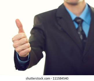 Business man hand with thumb up on white background