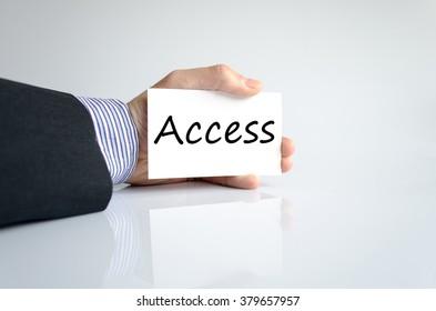 Business man hand writing access