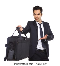 business man handing over a briefcase, isolated on white