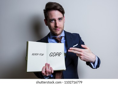 Business man handle note with GDPR (General Data Protection Regulation) act title