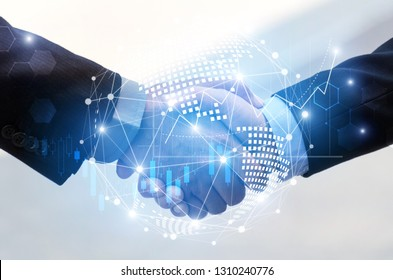 business man handshake with effect global world map network link connection and graph chart of stock market graphic diagram, digital technology, internet communication, teamwork, partnership concept