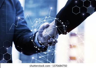 business man handshake with effect global network link connection and graph chart of stock market graphic diagram, digital technology, investment, internet communication, teamwork, partnership concept