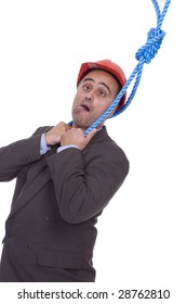Business man hanging on a rope, isolated over white background