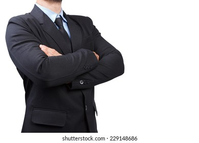 Business man with his arms crossed isolated on white background with clipping path