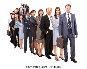 business man and his team isolated over a white background