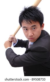 Business man hold baseball bat concentrate on hit