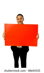 Business man hold blank red sign isolated on white background