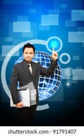 Business man hold notebook computer with digital earth background