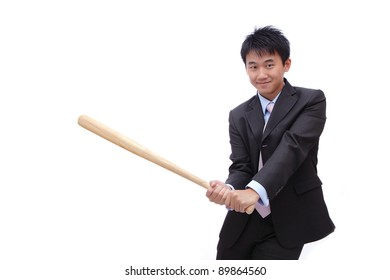 Business man holding baseball bat with friendly smile, it's time for home-run