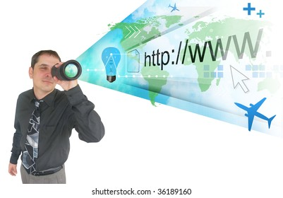 A business man is holding a binocular and a projection of the world and internet address appear. There are symbols like an airplane and a light bulb. Can Represent an idea, vision or strategy.