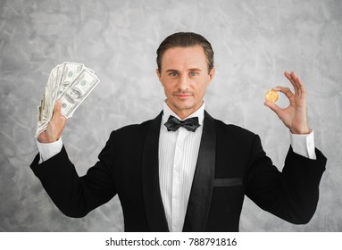 Business man holding bitcoin and dollar money, rich, millionaire, bitcoin currency mining concept.